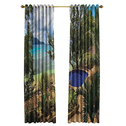 Beach Length Curtain Thermal Insulated, Noise Reducing Exotic Beach Summer 100' W x 96' L