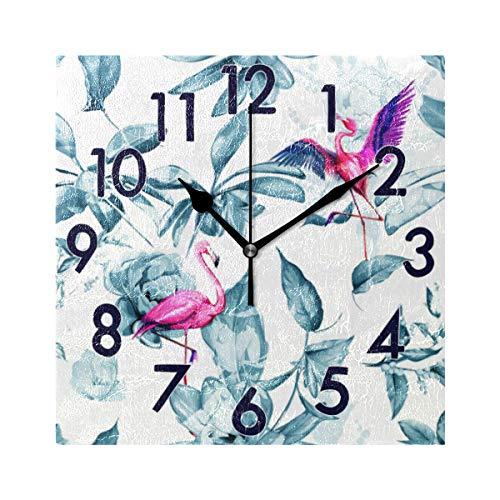 Chic Houses Reloj de Pared Cuadrado diseño de números arábigos, diseño de Gatito, diseño de Animales, silencioso, para baño, Oficina, Escuela, decoración 2031251
