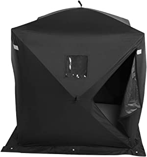 GOTOTOP Ice Fishing Shelter Tent, 2-Person Waterproof Portable Pop-up Ice Shelter 300d Oxford Fabric Backpacking Ice Fishing Tent Black