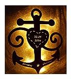 Schlummerlicht24 Holz 3d Motive Design Led Nachtlicht Lampen'Anker der Liebe', Geschenk mit Namen &...