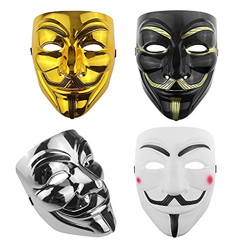 Halloween Máscara,Máscara de Hacker de 4 piezas V de Vendetta,Juego de máscaras para adultos,Máscara de terror,Juego de rol para fiestas,Accesorio para disfraces de miedo(Oro/Plata/Negro/Blanco)