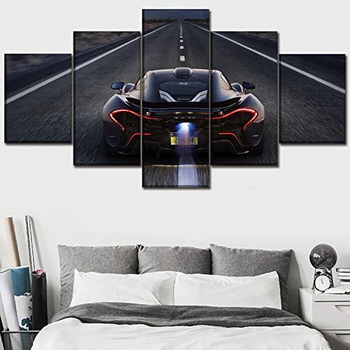 FJNS Vehículo Negro 5 Piezas McLaren P1 Atrás Cuadros en Lienzo Arte Modulares para la Sala de Estar Decoración del Hogar Galería Art Framework,B,20×35×220×45×220×55×1