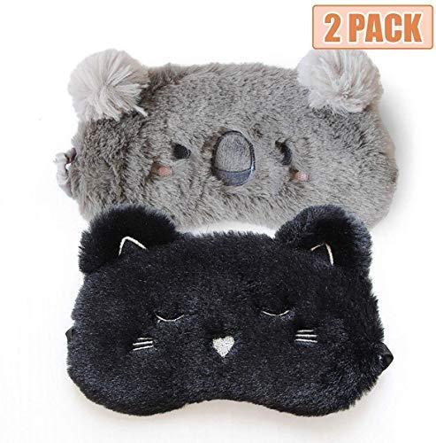 H HOMEWINS 2 Stück Schlafmaske 3D Süße Atmungsaktive Augenmaske aus 100% Naturseide & Plüsch Verstellbares Gummiband Schlafbrille Nachtmaske für Schlafen Reisen Party (Schwarz Katze + Grau Koala)