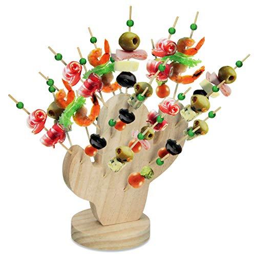 28-teiliges Snack Set Spießhalter 'Kaktus' inkl. Spieße, Holz Snackhalter Partyspieße Käsespieße Fingerfood