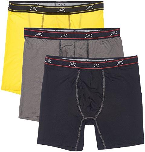 Terramar Men's Silkskins TXO 6' Boxer Briefs, Yellow/Black/Dark Grey, Medium / 32-34 Inches