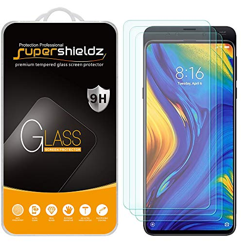 (3 Pack) Supershieldz Designed for Xiaomi Mi Mix 3 Tempered Glass Screen Protector, Anti Scratch, Bubble Free