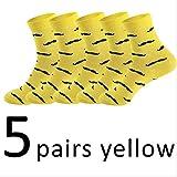 XWASOCK 5 Par/Lote Happy Socks para Hombre Calcetines Algodón Barba Calcetines Hombre Hip Hop Chaussette Homme Mans Calcetines de Trabajo EUR 39-45 Amarillo
