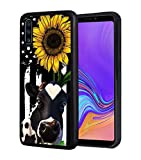 Galaxy A50 Case, BWOOLL Slim Anti-Scratch Rubber Protective Case Cover for Samsung Galaxy A50 (2019) - American Flag Sunflower and Cow
