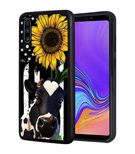 Galaxy A10E Case, BWOOLL Slim Anti-Scratch Rubber Protective Case Cover for Samsung Galaxy A10E (2019) - American Flag Sunflower and Cow