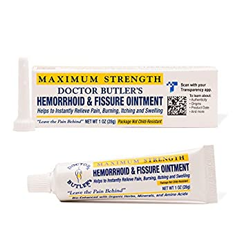 Doctor Butler s Hemorrhoid & Fissure Ointment - Hemorrhoid Treatment with Lidocaine Aloe Vera Amino Acids Essential Oils Fast Acting Hemorrhoid Cream for Itching Swelling and Maximum Pain Relief