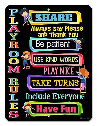 Kilburn KidsBlack Play Rules Play Rules - Decorazione da Parete Creativa, Stile retrò, Stile Semplice