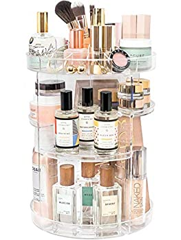 Rotating Makeup Organizer by Tranquil Abode   360 Spinning Storage Display Case   Clear Acrylic Vanity & Bathroom Organizer for Skincare Perfume Cosmetic Beauty Make up and Essential Oil Products
