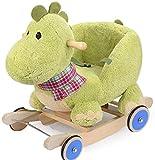 Caballo balancín de madera para niños, juguete sólido para bebé, dinosaurio, regalo envejecido, carruaje, madera segura (color con rueda de goma), con rueda de goma xuwuhz (color : con rueda de goma)