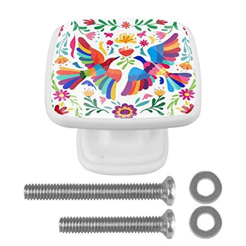 4 pomos para gabinetes de cocina con tornillos, tirador de cajón, pomos de gabinete, diseño perfecto, cajones, aparador, armario, tiradores de pájaros, flores