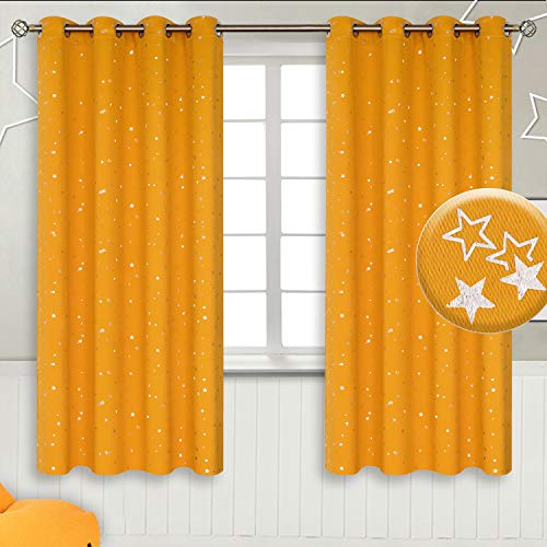 BGment Vorhänge Sterne Verdunkelungsvorhänge mit Ösen Blickdicht Gardine für Wohnzimmer Kinderzimmer Schlafzimmer,H 137 X B 117cm, 2 Stücke, Gelb