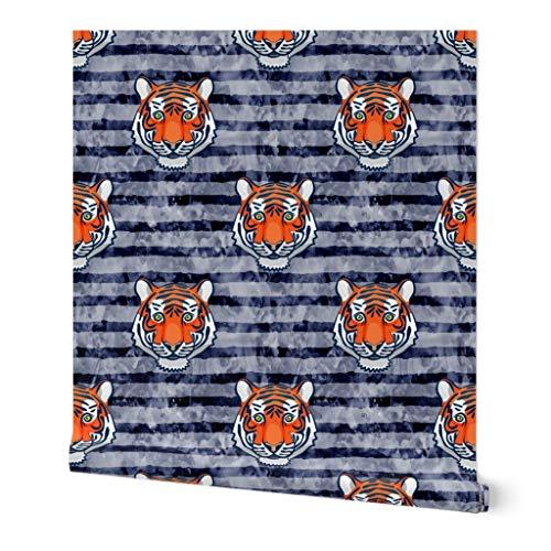 Tiger Wallpaper Roll - Auburn Navy Tiger Orange Animals Wild by Littlearrowdesign - 1 Roll 24in x 27ft