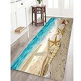 Bathroom Rugs Memory Foam Bath Mat Non Slip Large Bath Rug Runner Absorbent Bathroom Carpet Mats Seashells Starfish Rug Soft and Cozy 24 inches X 71 inches