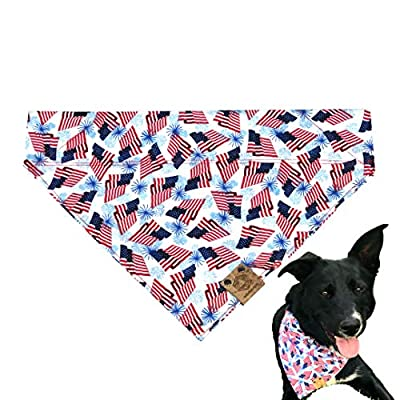 Bark.Bark.Goose. Large 4th of July Over-The-Collar Dog Bandana with American Flags and Blue Fireworks