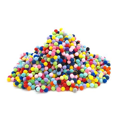 Pom Poms Craft Assorted Colors or Hobby Supplies and DIY Creative Crafts Decorations, 1 cm Round Pack of 2000