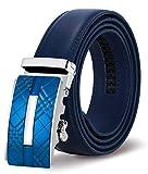 ITIEZY Cinturón Cuero para Hombres, Cinturones de Piel Diseñado con Hebilla Automática de 125 cm de Longitud