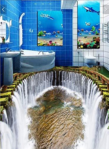 3D-Boden Benutzerdefinierte selbstklebende Wandaufkleber 3D-Badezimmerboden Wasserfall Wasser Schwimmbad Malerei Fototapete Wand 3D-200Cmx140Cm