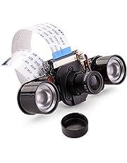 Quimat 新型カメラモジュール ラズベリーパイ IR-CUT 5MP OV5647センサ 1080p GPIO制御赤外線LED 夜間SC16