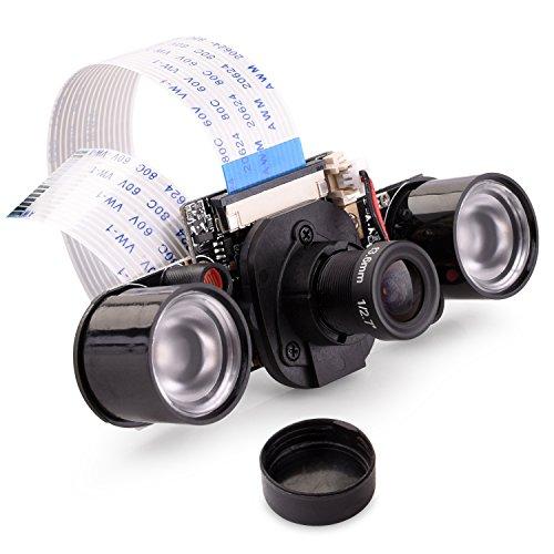 Quimat Raspberry Pi Kamera IR-Cut Sensor OV5647 5MP Einstellbarer IR-Fokus Modul LED Nachtsicht 1080p Video Webcam Kompatibel mit Raspberry Pi 4/3/2/1 Model B/B + /A /A +