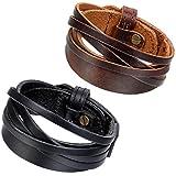 Flongo 2PCS Bracelets Cuir Alliage Homme Garçon Multi-Rangs Manchette Réglable...
