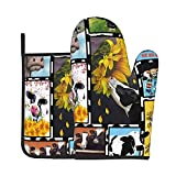 Funny Oven Mitt and Pot Holders Set Sunflower Cattle Heavy Duty Cooking Gloves Advanced Heat Resistance Grilling Gadgets to Protect Hands Surfaces for Men Women
