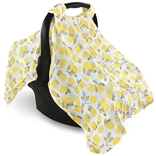 Hudson Baby Unisex Baby Muslin Cotton Car Seat and Stroller Canopy, Lemons, One Size