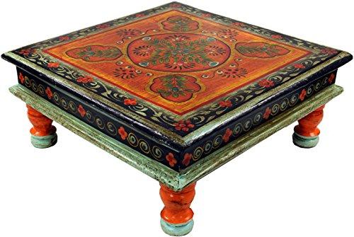Guru-Shop Bemalter Kleiner Tisch, Minitisch, Blumenbank - Ornament Orange, 16x38x38 cm, Kaffeetische & Bodentische