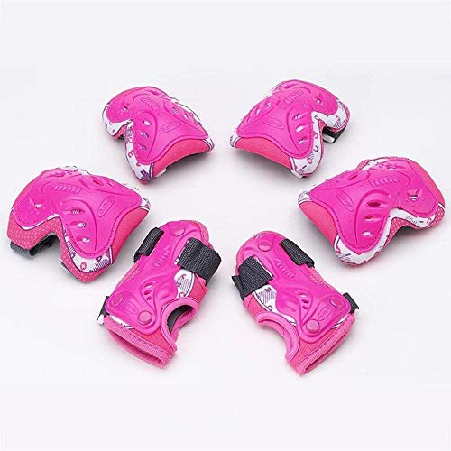 KRXLL Rodilleras de Patinaje sobre Ruedas Brazales Set Dispositivo de protección Infantil Patines de Ruedas BMX Bike Skateboard-Rosado_L