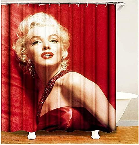 Fafan Cortina de ducha impresa en 3D con 12 ganchos cortina de baño cortinas de baño de poliéster impermeable, decoración de bañeras de baño y pendientes dorados Marilyn Monroe