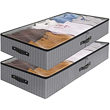 WiseLife Under Bed Storage Bins Containers  2-Pack  Large Foldable Shoe Storage Organizers with Clear Lid 2-Way Zippers Sturdy Riveted Handles Rigid Structure 33x17x6 in