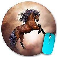 KAPANOU ラウンドマウスパッド カスタムマウスパッド、黒い馬、PC ノートパソコン オフィス用 円形 デスクマット 、ズされたゲーミングマウスパッド 滑り止め 耐久性が 200mmx200mm