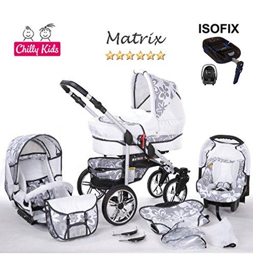Chilly Kids Matrix II Kinderwagen en kinderstoel Veiligheid Zomerset (parasol, autostoel & ISOFIX ondergrond, regenhoes, muskietennet, zwenkwielen) 65 Wit Grafiet & Bloemen