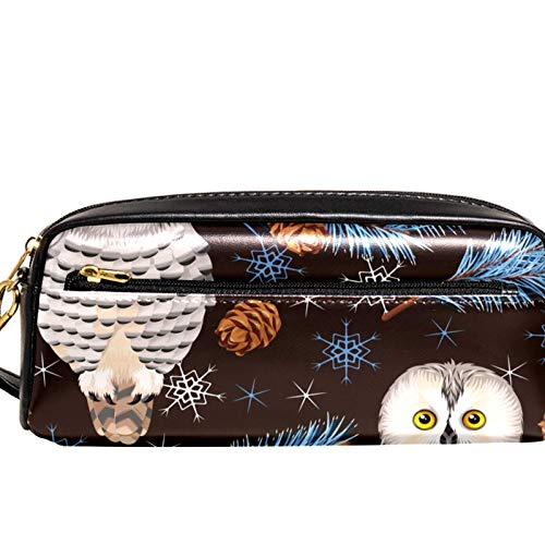 Yitian Forest and Polar Owls Pencil Case with Compartments Stationery Pouch Pen and Pencil Organiser Make-up Case for Children Girls for School
