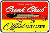 TOPFINES New Tin Sign Creek Chub Bait Caster Vintage Aluminum Metal Sign 8x12 Inches (M4043)