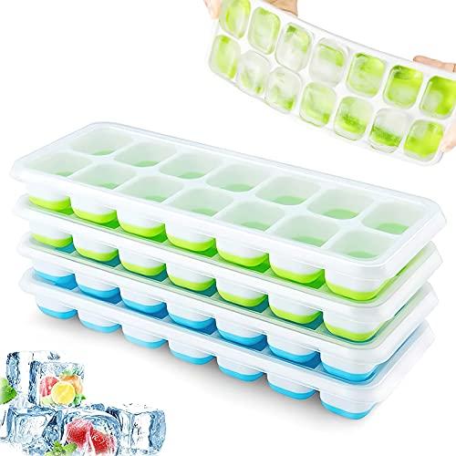 Eiswürfelform, 4er Pack Eiswürfelform Silikon Mit Deckelm, Platzsparend und stapelbar Ice Tray Ice Cube, LFGB Zertifiziert und BPA Frei Quadratische Eiswürfelschalen einfach Herauszunehmen Blau/Grün