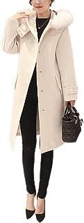 COLINNA Women's Elegant Faux Fox Fur Hooded Dress-Coats Knee Length Long Pea Trench Woolen Coat
