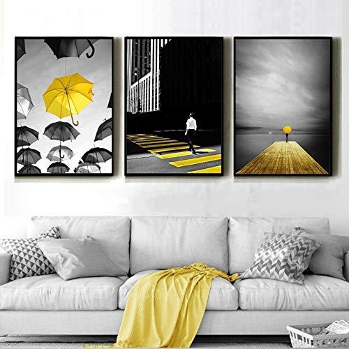 ganlanshu Decoración Abstracta Moderna de la Sala de Estar de la acera del Camino del Color Urbano Blanco Amarillo Negro,Pintura sin Marco,40X60cmx3
