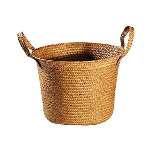 pot Handmade Straw Woven Large-Capacity Dirty Clothes Hamper, Multifunctional Home Storage Basket