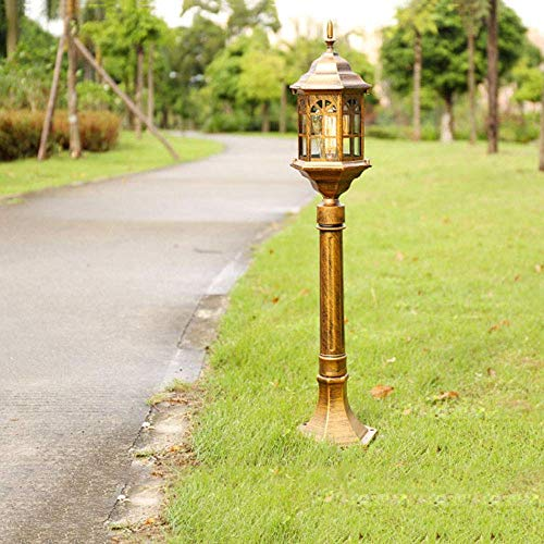 Lámpara pedestal exterior vintage para jardín con pantalla aluminio y vidrio color bronceColumna Luz Lámpara camino impermeable Villa Césped Paisaje Patio Lámpara pie Altura 82CM Lámpara decorativa