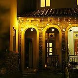 LED Lichterkette 12 Sterne, Lichtervorhang weihnachtslichter Sternenvorhang 138 LEDs 8 Modi Für Innen Außen, Weihnachten, Party, Hochzeit, Garten, Balkon, Deko (Warmweiß) - 9
