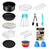 27 Pcs Air Fryer & OTG Accessories Kit, Meeting All Your Requirements: 1*Cake Barrel 6 inch 15.24 cm, 1* Pizza 6 inch 15.24 cm, 2* Silicone Cooking Pot Mitts, 100 * Parchment Paper, 12* Silicone Muffin Cups, 1* Stainless Steel Skewer Rack, 1* Silicon...