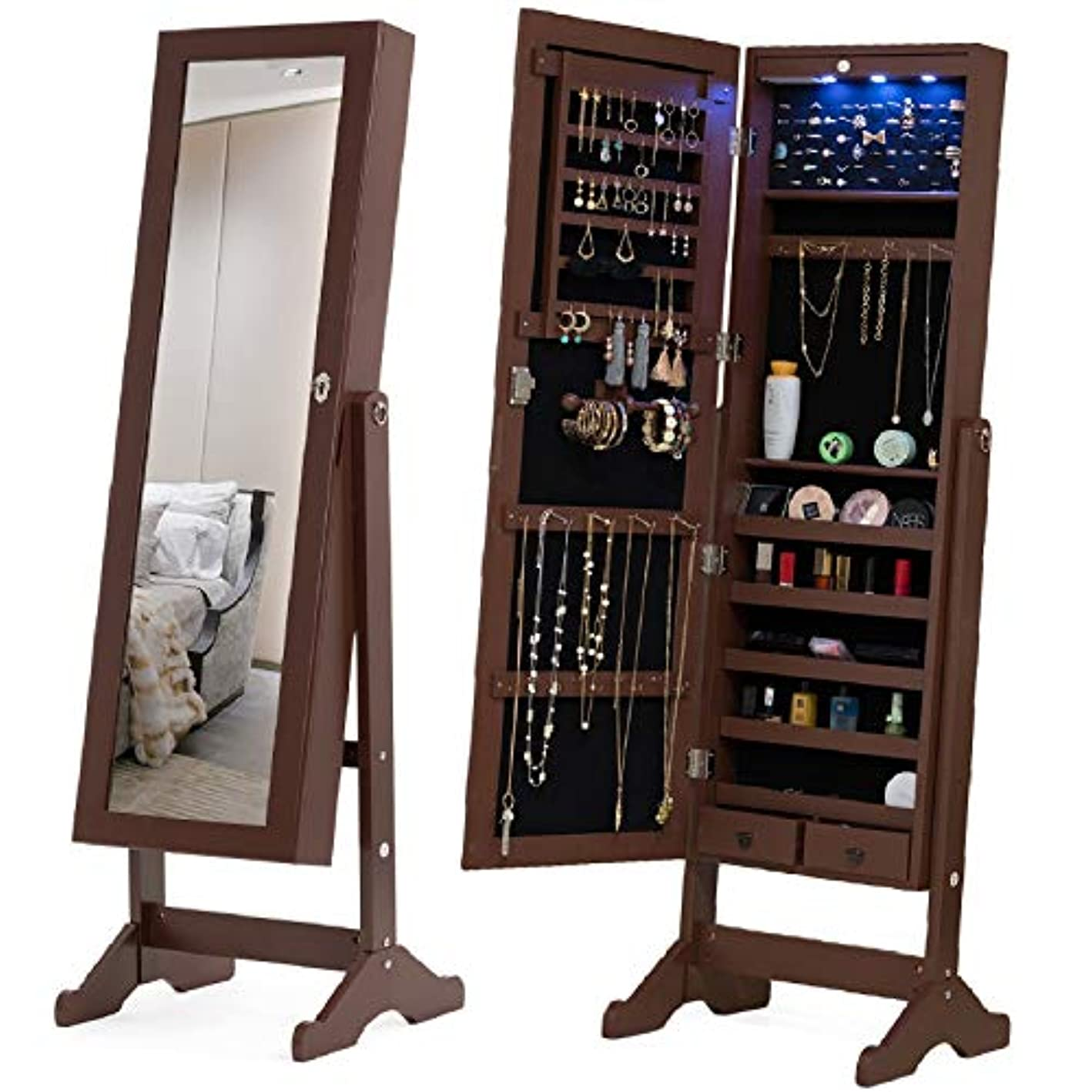 Mecor Jewelry Armoire,LED Standing Mirrored Jewelry Cabinet Organizer Storage Lockable Full Length Mirror Makeup Box w/2 Drawers,5 Shelves,3 Adjustable Angle Brown