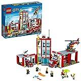 LEGO CITY - Estación de Bomberos, Juguete de Construcción, Incluye Camión, Helicóptero y Coche (60110)