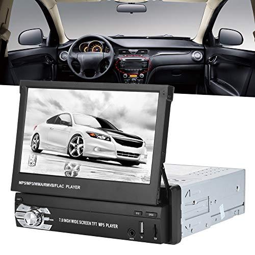 Qiilu Autoradio Bluetooth Stereo Lettore MP5 per auto universale lettore DVD MP5 per auto da 7 pollici HD telescopico singolo Din FM Radio Stereo Bluetooth U Disk(Lo schermo scorre automaticamente)