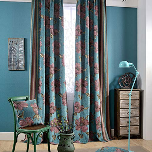 Thermische Pattern Blackout Gordijnstoffen- Flower CHENILLEWEEFSELS Gordijnen Zonnescherm Oogje gordijn for Living Room, 250x270cm 411 (Size : 300x270cm)