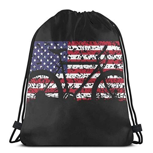 Elsaone Mountainbike American Flag Kordelzug für Jungen und Mädchen Sporttaschen 36 x 43 cm / 14 x 17 Zoll